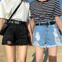 Moda de verano Denim para mujer sexy lateral rasgado vintage alto cintura pantalones cortos de cintura para las mujeres frescas ahuecadas jeans