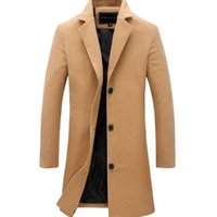 Men's Trench Coats Winter Men Coat Fashion Solid Long Jacket Male Vintage Single Breasted Business Mens Overcoat Plus Size Wool Blends