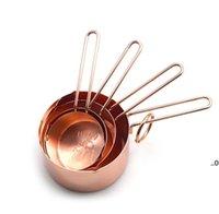 أدوات القياس النحاس الفولاذ المقاوم للصدأ القياسات الكؤوس 4 أجزاء مجموعة أدوات المطبخ صنع الكعك و مقاييس الخبز FWB9665