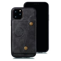 Casse à poche de carte d'identité pour iPhone 12 11 PRO XS MAX X XR 8 7 6 6S PLUS Porte-Porte-Porte-Porte-Porte-Pouch Suction magnétique + Slot Slot Support de cuir Retour