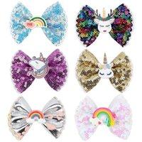Girls Hair Accessories 3Inch Bowknot Baby Hairclips Bb Clip Barrettes Clips Childrens Sequin Bow Hairpin Cute Children's Accessory Unicorn Rainbow B6403