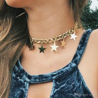 Fashion Chokers Alliage Chunky Twisted Link Chain de linge Mesdames 'Déclaration Couker 2021 Collier Sequins Stars Tassel Femmes Colliers Hip Hop Joathr