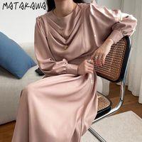 Abiti casual Matakawa Lantern Lantern Sleeve Dress Dress Dress Corea Chic Collo rotondo Pieghettato lungo Vestido Feminino Corsetto Slim Vita Femme Robe