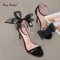 Vendita calda-roni bouker nuovo sandali donne tacchi alti tacchi alti nero bianco fibbia cinturino da partito vestito da partito scarpe bow bow knot sottile tacco a tacco sottile sandalia feminina1