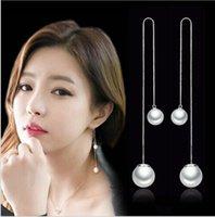 OL Uzun Paragraf Püskül Inci Kulak Damızlık Tel Hipoalerjenik Kore Moda Gümüş Takı Üreticileri, Toptan Küpe Beyaz Mantar