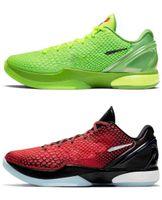 2021 الافراج عن أصيلة عيد الميلاد 6 بروبرو جرين أحذية كل النجوم مامبا الأخضر التفاح فولت قرمزي-أسود رجل في الهواء الطلق الرياضة أحذية رياضية مع
