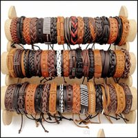 Bracelets Jewelryfashion 30Pcs Lot Retro Leather Bracelet Handmade Bangle Charm Cuff Wrist Strap Jewelry Mixed Classic Look Fit Women And Me
