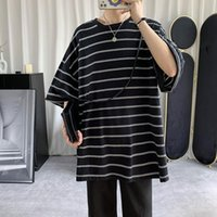 Men's T-Shirts Summer Cotton Short-sleeved T-shirt Fashion Casual Tshirt Men Streetwear Korean Loose Striped T Shirt Mens M-2XL
