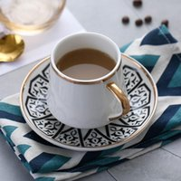 Mugs Nordic Luxury White Ceramic Cup And Saucer Set Modern Design Coffee Afternoon Tea Turkish Travel