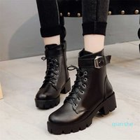 fashion- Leather Boots Woman shoes Winter Warm Lace-up Ankle For High Quality Waterproof Platform