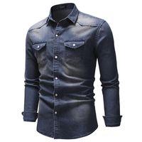 Erkek Casual Gömlek Negizber Yüksek Kalite Uzun Kollu Denim Gömlek Erkekler Bahar Katı Renk Pamuk Kot Için