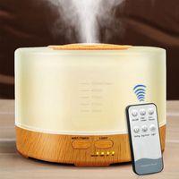 500 ملليلتر رائحة الضروري النفط الناشر بالموجات فوق الصوتية الهواء المرطب الخشب تنقية الهواء الحبوب مع 7 ألوان تغيير ضوء الصمام