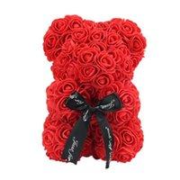 Vktech Saint Valentin cadeau 23cm Rose Rose Teddy Bear Rose Fleur Décoration artificielle pour cadeaux d'anniversaire de la Saint-Valentin de Noël