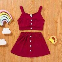 Ins stilar sommarflickor väst kjolar kostym multi färg hög kvalitet pit strip tyg två stycken kostym camisole crop toppar + klänning sätter kläder g6756m0
