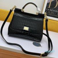 Bags Medium Sicily in Foiled Crocodile-Print Calfskin Top Handle Handbags Purse For Women with Dust bag