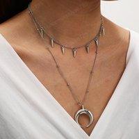 2021 Новые Старинные Женщины Хокеры Ожерелье Луна Подвеска Многослойное Ожерелье Серебряные Заклепки Цепи Ожерелье Мода Ювелирные Изделия