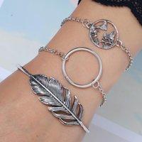 Cuff 2021 Bracelet Fashion Adjustable Tibetan Silver Leaf Map Bilezik Opening Bracelets Women Jewelry Gift Mujer Pulseras 3pcs
