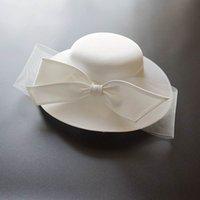 Französisch Black Bownot Satin Top Frauen Bankett Elegante Britische Promi-Kleid Fascinator Braut Hochzeit Weiß Fedora Hut