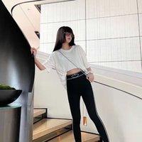2021 women's autumn new yoga pants letter printing tight thin elastic fashion slim fit high waist Leggings