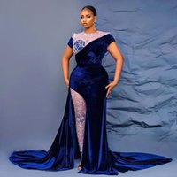 Blue Velvet Side Split Evening Dresses Two Pieces Short Sleeve Special Occasion Gowns Plus Size Illusion Pants Womens Prom Gown