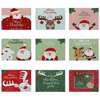 Mats & Pads Christmas Decorative Kitchen Placemat Cartoon Santa Deer Pattern Table Mat 42*32 Linen Western Waterproof Drink