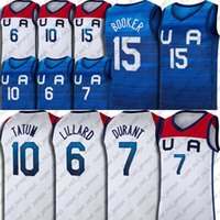 Team USA 2020 Tokyo Sommer Olympia Kevin 7 Durant Jersey Devin 15 Booker Jerseys Damian 6 Lilard Jersey Jayson 10 Tatum Trikots