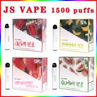 Original JS Vape Disposable E Cigaretter upp till1500 puffar autentiska 18 färger tillgängliga 900 mAh batteri Prefilled 8ml pod stick false bar plus max