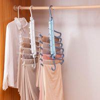 Hangers & Racks 6 In 1 Pant Rack Multifunction Shelves Closet Storage Organizer Clothes Multi-Port Plastic