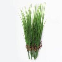 الزهور الزخرفية أكاليل 45 سنتيمتر البلاستيك النباتات وهمية الاصطناعي البصل العشب حفنة الأخضر أوراق النبات فرع أوراق الشجر جدار المواد حديقة با