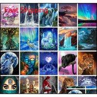 500+ conceptions 5D peintures arts cadeaux DIY Diamond peinture Cross Kits Diamant Mosaïque Broderie Paysage Animaux Qylohp Maisons2011
