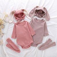 Baby Rompers rabbit ears hat socks Jumpsuits Ribbed Cotton Plain Bodysuits long sleeve Babies Jumpsuit Clothes M3852