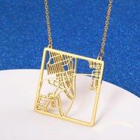 Collares colgantes de acero inoxidable Ciudad de York Mapa Collar Plaza United States NY EEUU EEUU Jewelry Town Skyline Mujer regalos