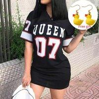 2021 여름 여자의 티셔츠 드레스 캐주얼 V 넥 퀸 07 편지 인쇄 힙합 미니 Vestidos 짧은 소매 여성 패션 옷