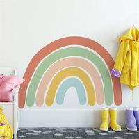 Yaratıcı Gökkuşağı Duvar Sticker Çocuk Odaları Için Oturma Odası Yatak Odası Süslemeleri PVC Kendinden Yapışkanlı Duvar Kağıdı Renk Duvar Çocuk D30 210310