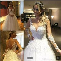2021 New Arrival white tulle a line wedding dress beaded lace appliques long sleeve saudi arabic modest bride dresses princess muslim women Islamic bridal gowns