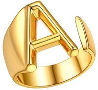 Hohl A-Z Buchstabe Gold Farbe Metall Einstellbare Öffnungsring Initialen Name Alphabet Weibliche Partei Chunky Breite Trendige Freunde Geschenke Engagement Schmuck