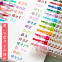 Gel Pens 24 Colors Pen 0.5mm Press-type Mixed Candy Color Hand Account Juice With Extra Refills