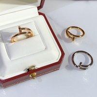 Luxo designer jóias mulheres anéis de ouro anel de prego com diamante de aço inoxidável de prata casamento anéis de noivado para casal amante moda