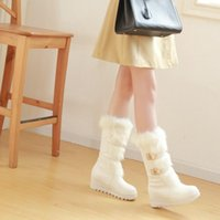 Boots CEVABULE Elegant Hair Collar Sewing Lady Middle Tube Snow Slope Heel Leisure Women Platform TYX
