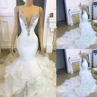 Elegant Strapless crystal Mermaid Wedding Dresses Ruffles Sweep Train Bridal Gowns robe de mariée