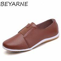 Beyarne Sommer Frauen schneiden Sneakers Frau Echtes Leder Müßiggänger Frau Schuhe Tief Heels Frauen Weiße Flache Schuhe Damen Oxfords B3MR #