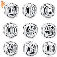 Authentische 925 Sterling Silber Crystal Alphabet A-Z Buchstabe Charms Perlen Fit Original Pandora Armband Halskette DIY Schmuck Erstellen von Q0225