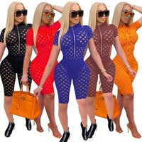 Macacões Bodysuit 941 macacão nova moda sexy zipper oco out perspectiva slim 2021 verão mulheres