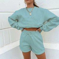YICIYA Letter Print Women 2 Piece Set Long Sleeve Sweatshirt Sweatshorts Loose Casual Tracksuit Loungewear 2021 Autumn Winter Q0528