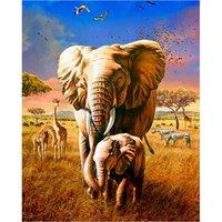 Olio con cornice Foto di numeri Kit per adulti Elephant Animal Painting by Number Kit Dono DIY Dono Acrilico Draw on Canvas Photo