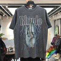 RHODE футболка Мужчины Женщины промывают сделать старую уличную одежду футболки летний стиль высококачественные ровные тройники