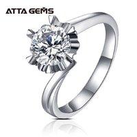 ATTAGEMS Solid 925 Sterling Silver Women's Diamond Rings 1.0ct D Color VVS Moissanite Diamond Solitaire Engagement Rings