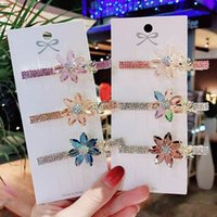 2021 New Crystal Girls Hair Clips Flower Colorful Children B...