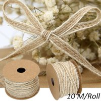 Jute Burlap Rolls Hessian Ribbon With Lace Vintage Rustic Wedding Decoration Party Crafts Christmas Gift Packaging