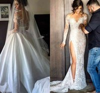 2016 Vintage Wedding Dresses With Detachable Skirt Sexy Sheer Lace Applique Jewel Illusion Long Sleeves High Slit Overskirts Brid